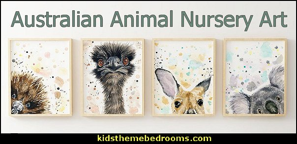 Australian Animal Nursery art - Australian Nursery Koala Kangaroo wall decor aussie animal art