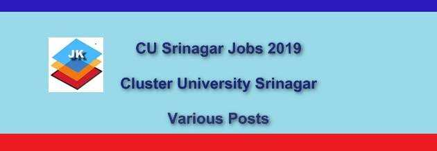 (J&K) CU Srinagar Jobs || Cluster University Srinagar Recruitment Notification 2019