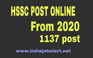 Haryana HSSC Various Post Online Form 2020 (1137 Post)
