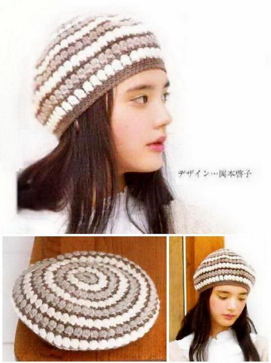 Crochet beret with pattern, striped crochet beret hat