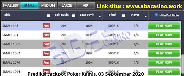 Prediksi bocoran jackpot pokerqq online di meja Small hari ini Kamis, 3 September 2020
