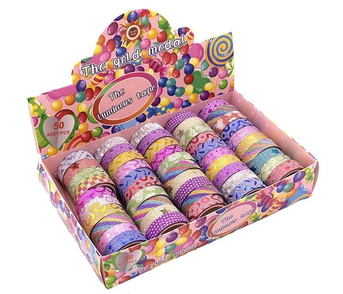Glitter Washi Tape Set Box of 50 Rolls,