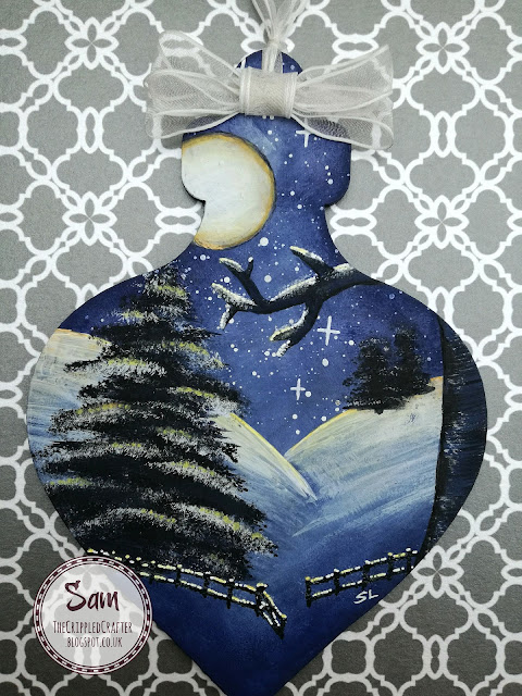 Winter Scene MDF Bauble by Sam Lewis AKA The Crippled Crafter.