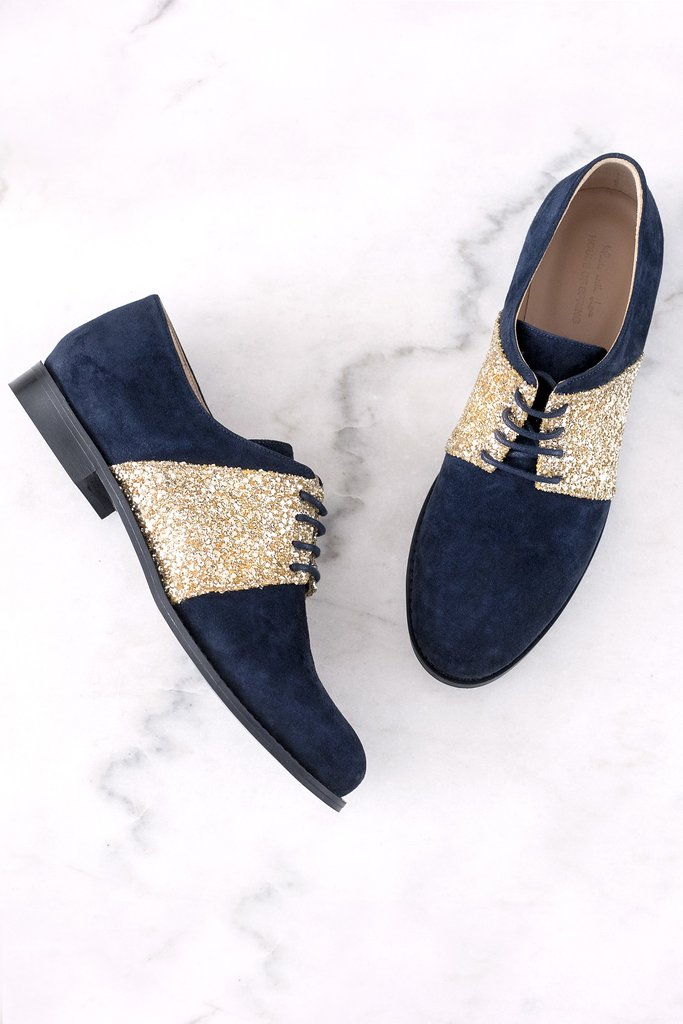 Blue suede brogues