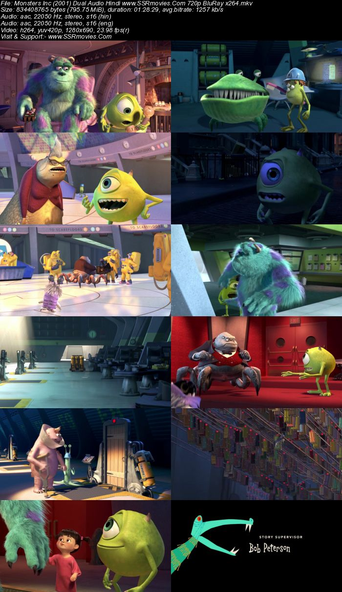 Monsters, Inc. (2001) Hindi 480p 350Mb BluRay Dual Audio Full Movie Download