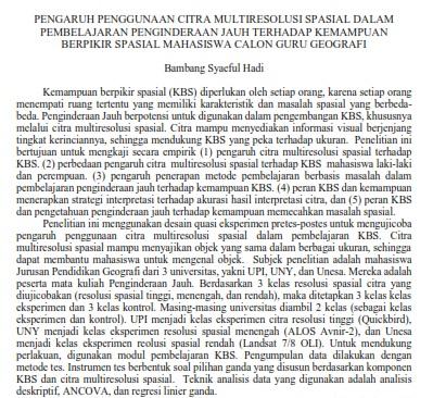 Pengaruh Penggunaan Citra Multiresolusi Spasial Dalam Pembelajaran Penginderaan Jauh [Paper]