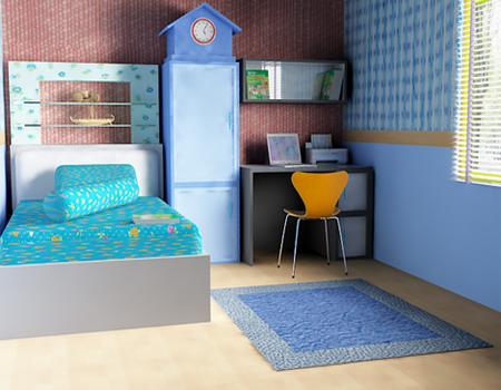 desain kamar tidur bernuansa biru - desain rumah minimalis