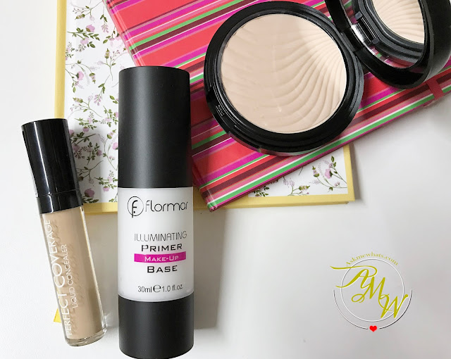 a photo of Flormar Illuminating Primer Make-Up Base, Flormar Perfect Coverage Liquid Concealer (Shade 05 Soft Beige) and Flormar Wet & Dry Compact Powder