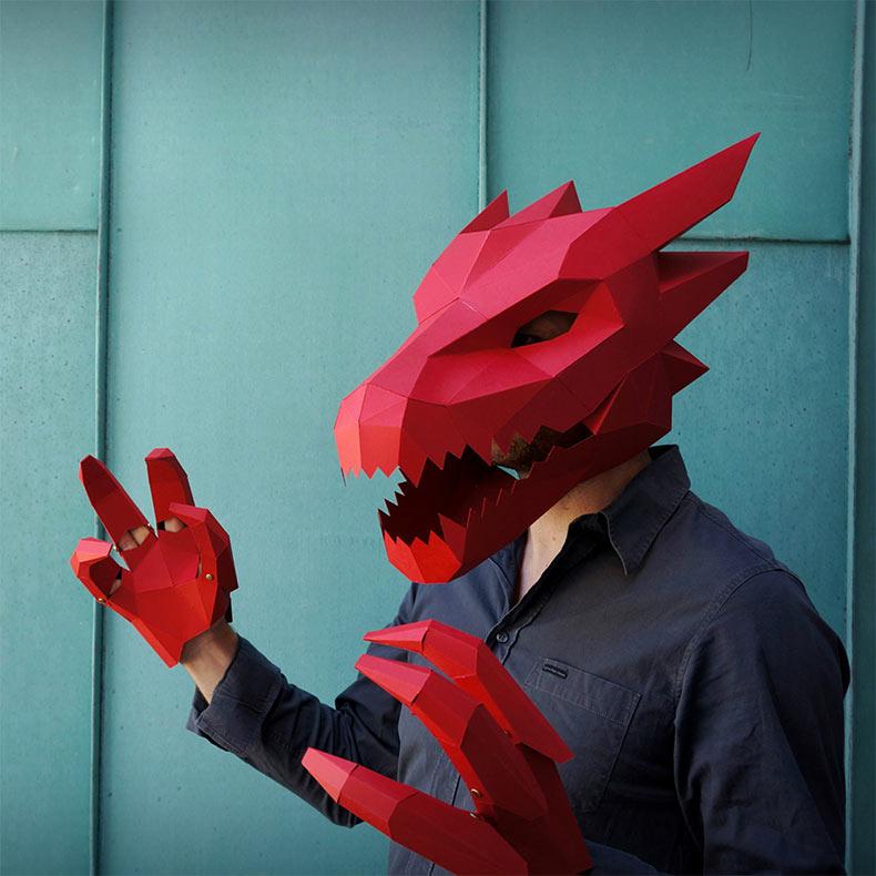 Nuevos bricolaje de máscaras geométricas para Halloween por Wintercroft