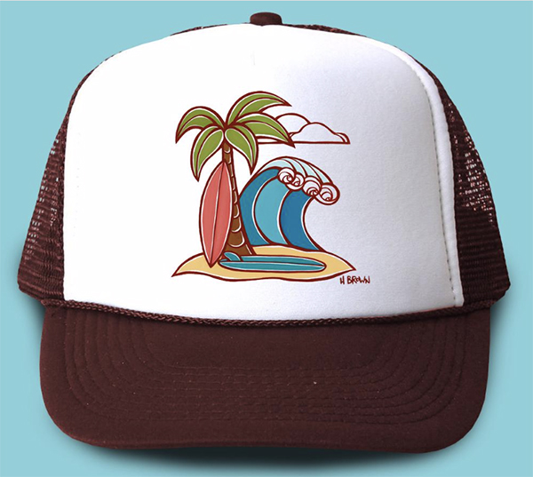 heather brown Hawaii modern tropical surf art hat