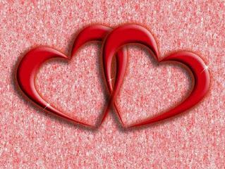 صورة قلب احمر اللون متداخل رومانسية