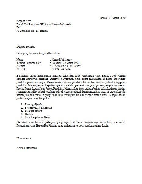Contoh Surat Lamaran Kerja untuk Berbagai Kalangan (via: tanpakoma.com)