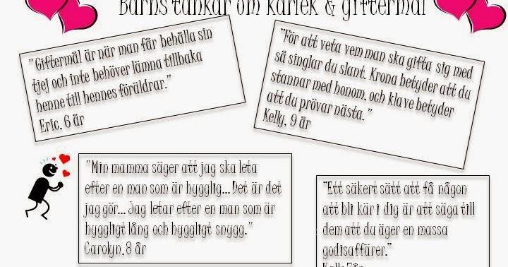 7bedc08c6d8a Tina's Kraft & Inspirationskälla: Barns tankar om kärlek & giftermål
