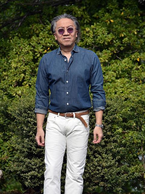 40代デニムシャツ着こなし