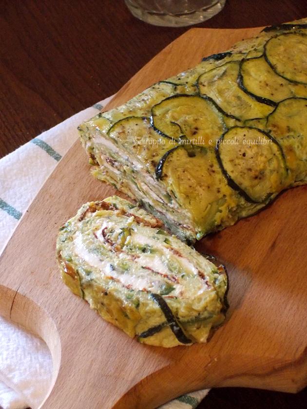 Rotolo di zucchine farcito con ricotta, erba cipollina e zenzero