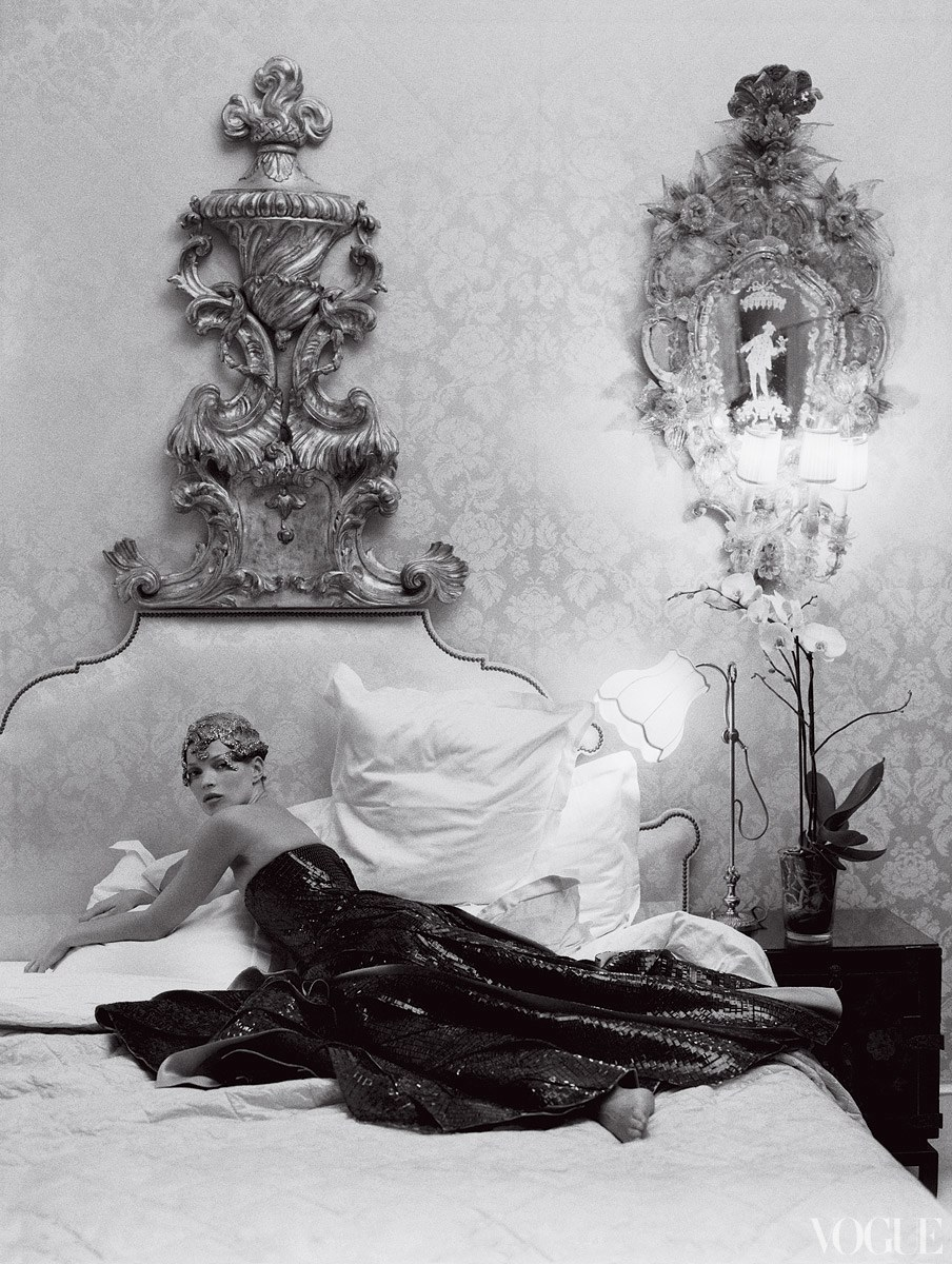 Kate Moss by Tim Walker at the Ritz Paris - black and white fashion photography