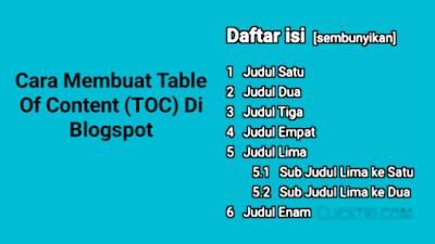 Cara Membuat Daftar Isi Atau Table Of Content (TOC) Di Blogger / Blogspot