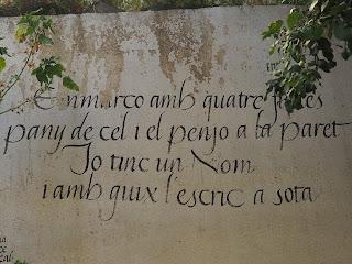 DIVISA  Emmarco amb quatre fustes un pany de cel i el penjo a la paret.  Jo tinc un nom i amb guix l'escric a sota.