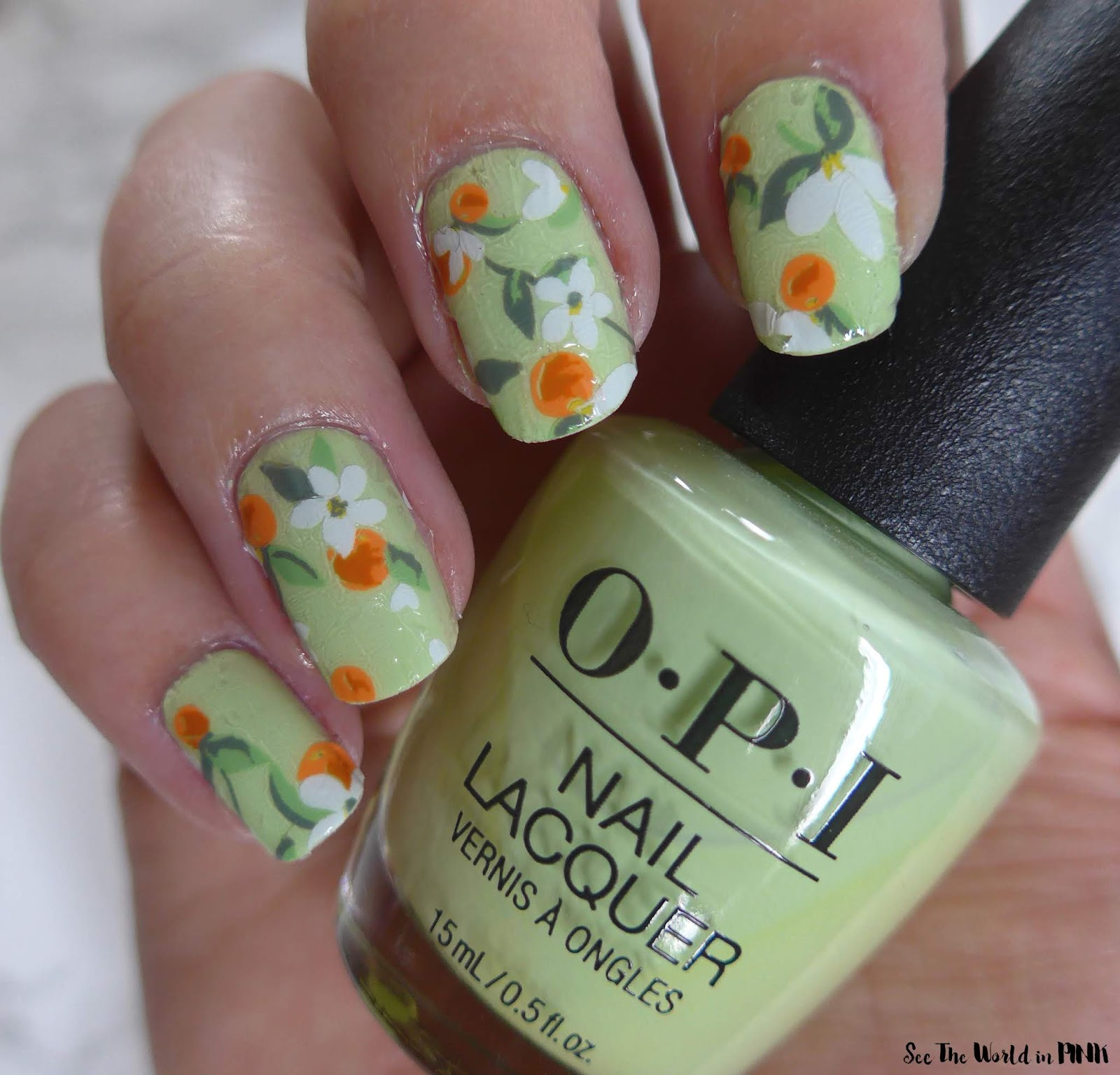 Manicure Monday - Green and Orange Blossom Nails