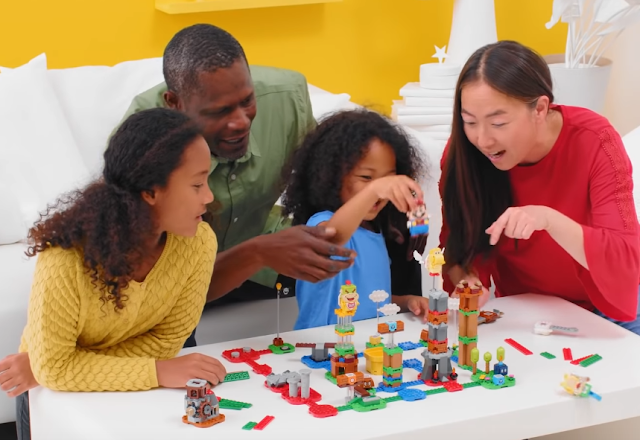 LEGO Super Mario Master Your Adventure Maker trailer Larry Koopa table black Asian multi-racial family marketing