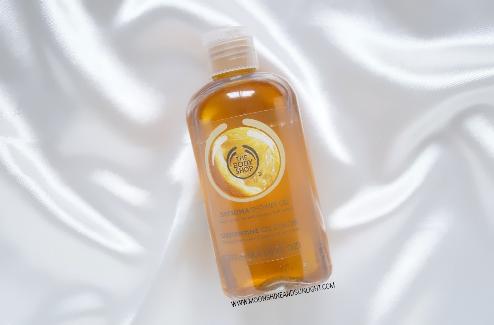 Bottle of satsuma body wash from body shop review