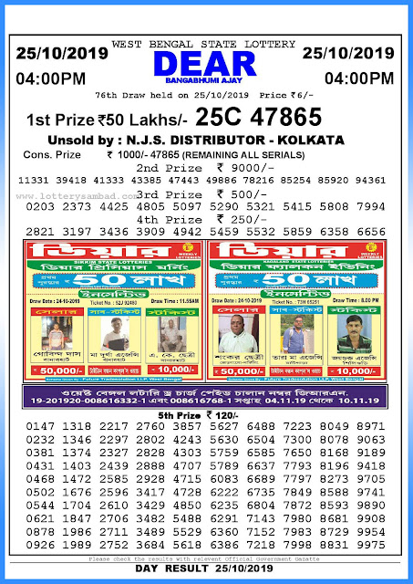 Lottery sambad 25-10-2019 West Bengal State Lottery Result 04.00 PM-sambadlottery.org