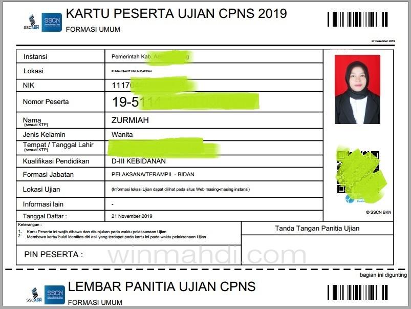 Kartu Ujian CPNS 2019
