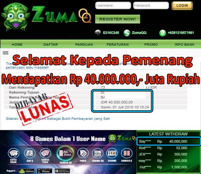 ZumaQQ Selamat Kepada Pemenang Periode 1 July 2019