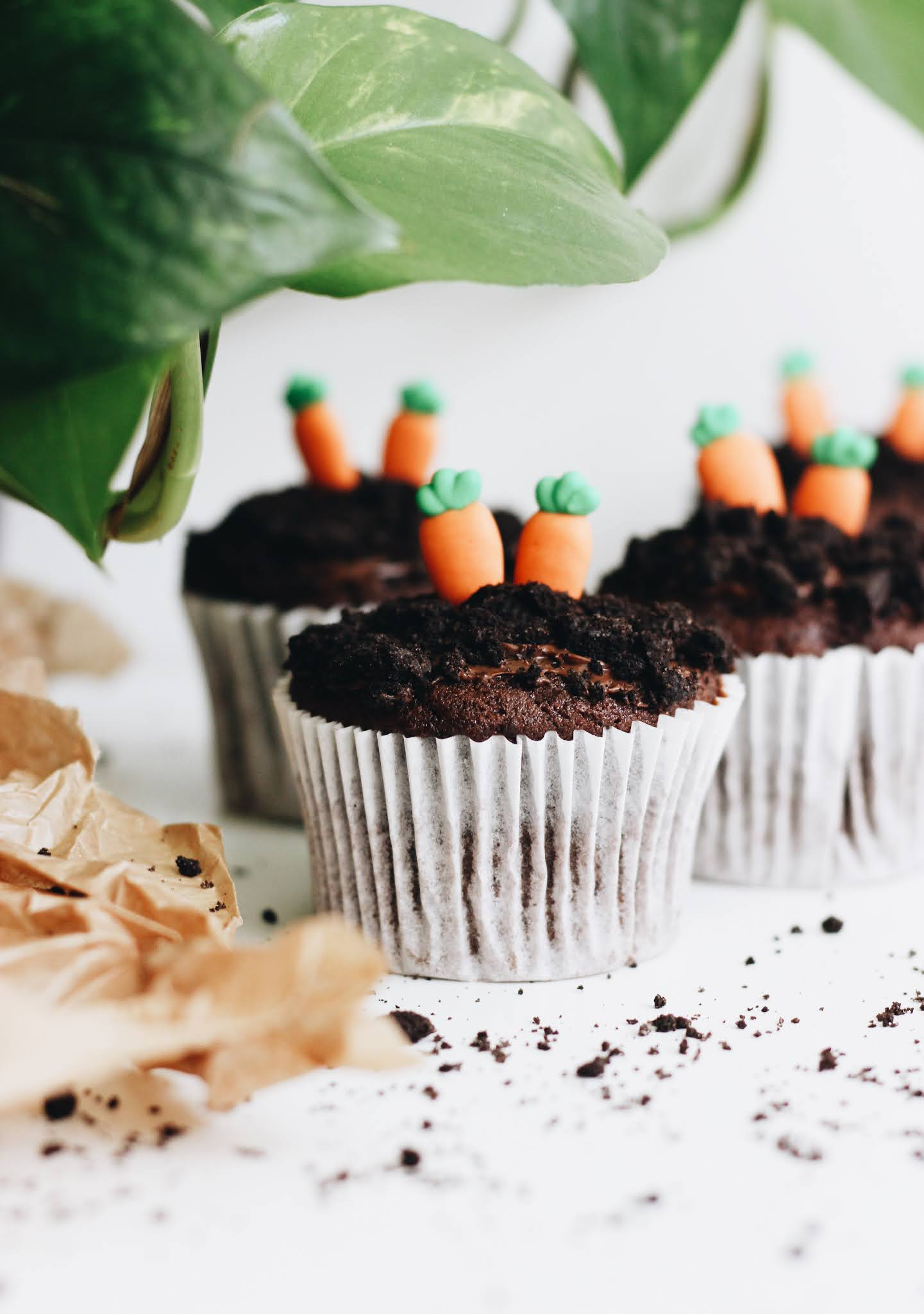 "Carrot Topped ""Dirt"" Chocolate Muffin Recipe"