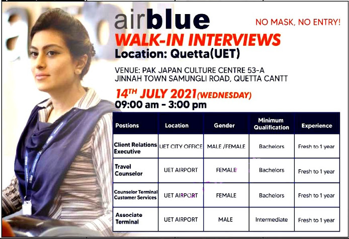 Airblue Walking Interview in Quetta Latest  Jobs 2021 – Male & Female Staff Required