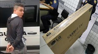 Meliante é preso pela Guarda Municipal de Paranaguá (PR) após furtar televisão da loja Magazine Luiza