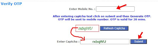 Mobile number aur captcha enter kar submit par click kare