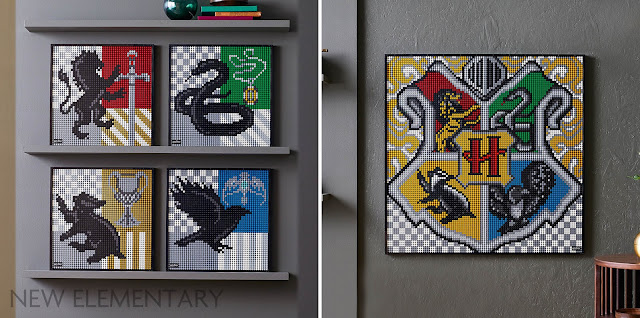Various versions of the LEGO set 31201 Harry Potter Hogwarts Crests hanging on walls in a home