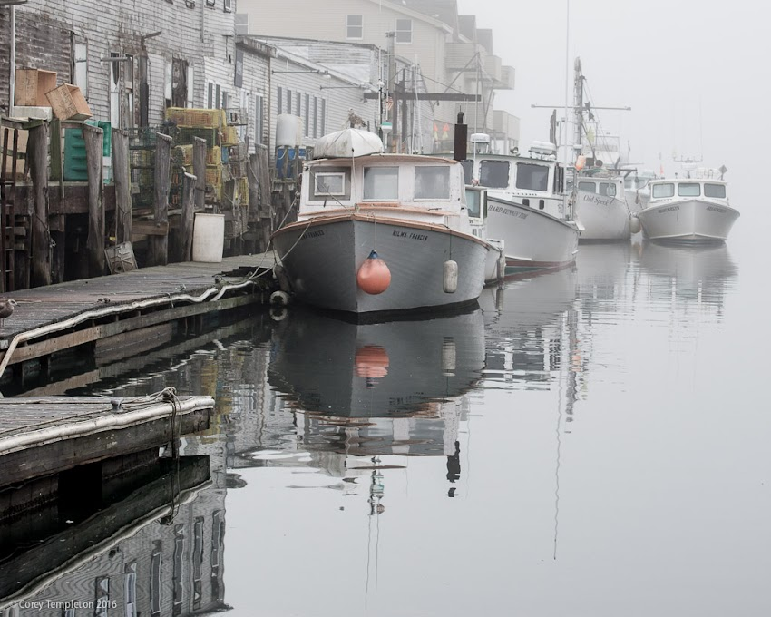Portland, Maine USA November 2016 photo by Corey Templeton of foggy morning on Custom House Wharf on Casco Bay with fishing boats.