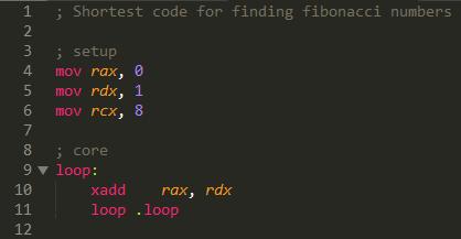 Assembly Fibonacci number calculating code