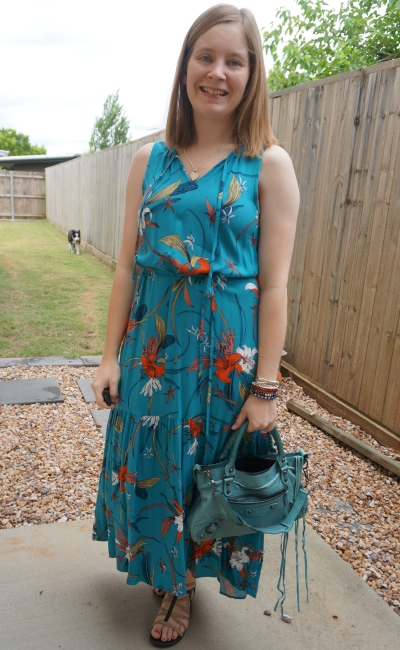 Kmart tropical notch neck floral maxi dress for church belted with Balenciaga first chevre bag | away from blue