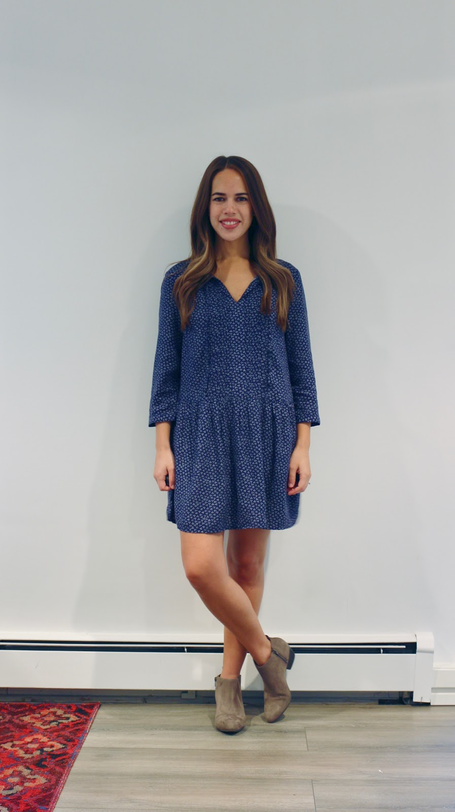 Jules in Flats - Tie Neck Printed Swing Dress (Business Casual Workwear on a Budget)