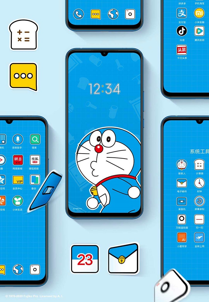 Xiaomi Mi 10 Youth Doraemon Smartphone Theme Icons