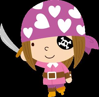 niña pirata con parche en el ojo para imprimir