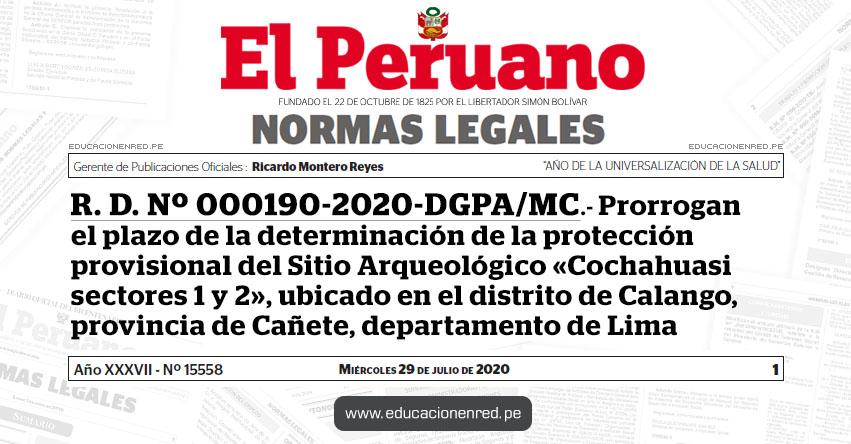 R. D. Nº 000190-2020-DGPA/MC.- Prorrogan el plazo de la determinación de la protección provisional del Sitio Arqueológico «Cochahuasi sectores 1 y 2», ubicado en el distrito de Calango, provincia de Cañete, departamento de Lima