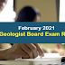 February 2021 Geologist Board Exam Result