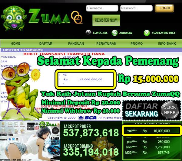 Selamat Kepada Pemenang Member Setia ZumaQQ Periode 25 September 2019