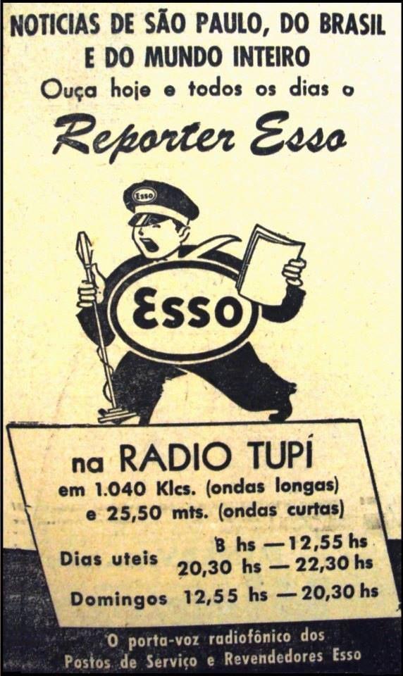 Propaganda antiga do programa jornalístico Repórter Esso nos anos 50