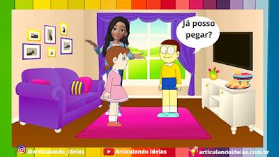 Pedro, Maiana e a mãe na sala conversando