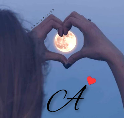 Hand Heart with Full Moon A to Z Alphabet Letters Dp Images
