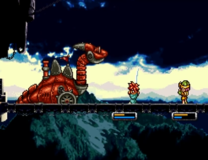 Crono and Lucca battle the Dragon Tank on a bridge between Prison Towers and Guardia Castle