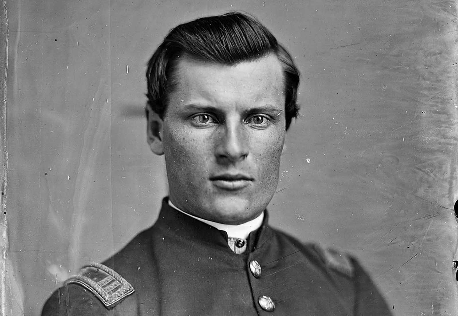An unidentified Union officer, photographed by Mathew Brady.