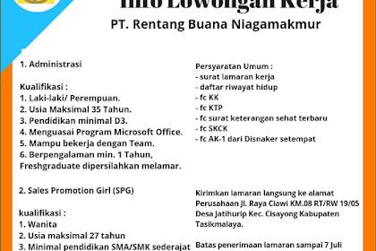 Lowongan Kerja Administrasi PT. Rentang Buana Niagamakmur (NAPOLLY)