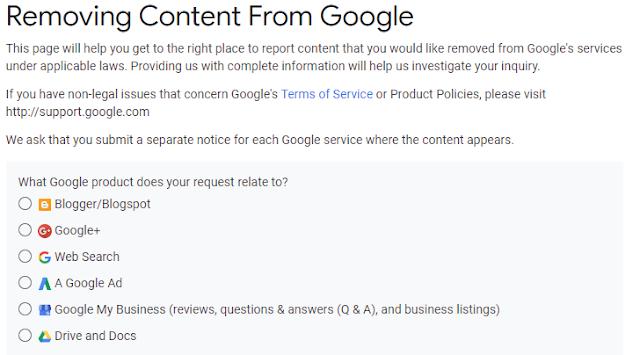Report Copyright Infringement to Google