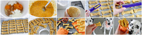 How to make pumpkin peanut butter Halloween dog treats in a step-by-step collage